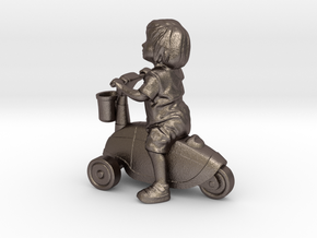 Scanned Little Girl rides a toy car - 8CM High in Polished Bronzed Silver Steel