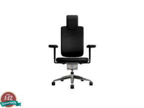 Miniature Headline Office Swivel Chair in White Natural Versatile Plastic: 1:12