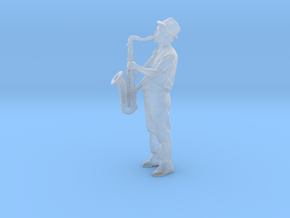 Scanned Saxophone player 6CM High in Smooth Fine Detail Plastic