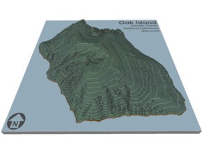 Oak Island Topo Map: 5 Inch in Coated Full Color Sandstone