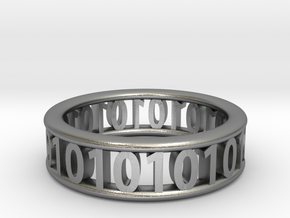 Binary ring in Raw Silver