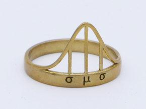 Normal curve ring in Raw Brass