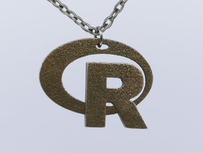 Pendant R Statistics Logo (thickness 2.6 mm) in Stainless Steel