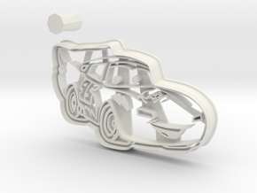 McQueen Cookie Cutter from Cars 3 + Handle in White Natural Versatile Plastic