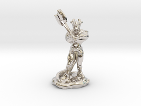 Dragonborn Barbarian with Axe in Rhodium Plated Brass