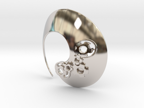 Enso No.1 Pendant (large) in Rhodium Plated Brass