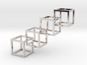 Interlocking Cube Necklace 4 in Rhodium Plated Brass
