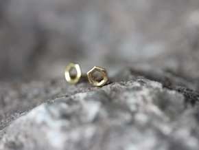 Hexagon studs in 14K Gold