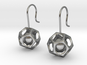 Dodecahedron earrings in Natural Silver (Interlocking Parts)