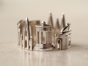 Edinburgh Cityscape - Skyline Ring in Polished Silver
