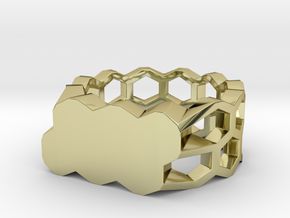 Double Hex Ring, Custom, Size 7 in 18k Gold Plated Brass
