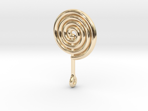 Colorful Swirl Lollipop pendant in 14k Gold Plated Brass: Medium