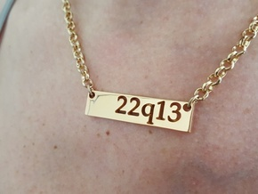 22q13 Bar Pendant in Polished Bronzed Silver Steel