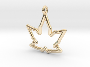 Leaf Curve Pendant in 14K Yellow Gold
