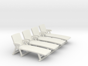 Deck Chair 01. 1:50 Scale  in White Strong & Flexible