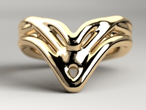 Raindrop Ring in Polished Gold Steel