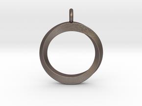 Twisting Loop Pendant in Polished Bronzed Silver Steel
