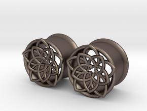 """Star Flower 5/8"""" ear plugs 16mm in Polished Bronzed Silver Steel"""