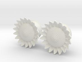 "Sunflower 5/8"" ear plugs 16mm in White Natural Versatile Plastic"