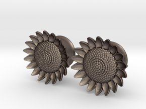 "Sunflower 5/8"" ear plugs 16mm in Polished Bronzed Silver Steel"