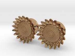 """Sunflower 5/8"""" ear plugs 16mm in Polished Brass"""