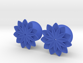 "5/8"" ear plugs 16mm - Flowers - 11 petals in Blue Processed Versatile Plastic"