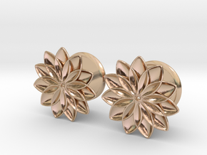 """5/8"""" ear plugs 16mm - Flowers - 11 petals in 14k Rose Gold Plated Brass"""