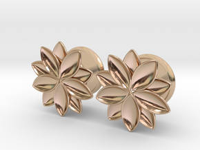 """Flower - 10 petals - 5/8"""" ear plugs 16mm in 14k Rose Gold Plated Brass"""
