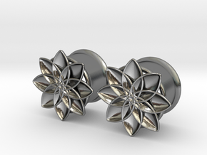"5/8"" ear plugs 16mm - Flowers - 8 petals in Polished Silver"