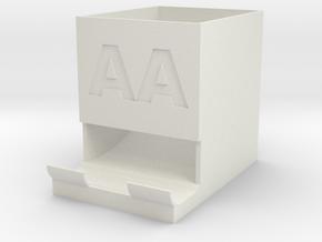 AA Battery holder and dispenser in White Natural Versatile Plastic
