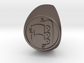 Custom Signet Ring 56 in Polished Bronzed Silver Steel
