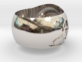 Pokeball ring 26mm in Rhodium Plated Brass