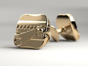 ZIPPER Cufflik in 14k Gold Plated Brass