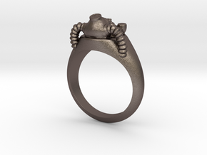 Helmet Fallout Ring in Polished Bronzed Silver Steel: Medium