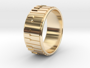 Piano Ring - US Size 11 in 14k Gold Plated Brass