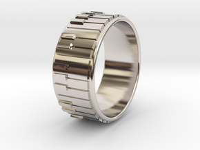 Piano Ring - US Size 11 in Rhodium Plated Brass