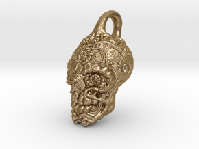 Mayan skull pendant in Polished Gold Steel