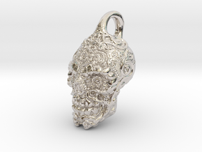 Mayan skull pendant in Rhodium Plated Brass