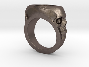 Skull Signet Ring blank size 12 in Polished Bronzed Silver Steel