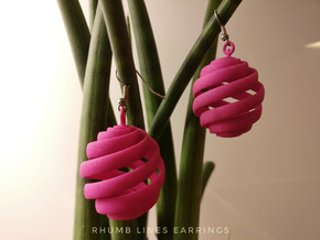 Rhumb Lines Earrings in Pink Processed Versatile Plastic