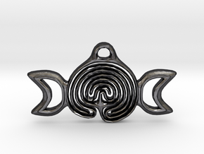 Labyrinth Moon Goddess Pendant in Polished and Bronzed Black Steel