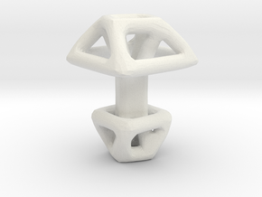 Square Cufflink Twisted in White Natural Versatile Plastic