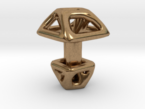 Square Cufflink Twisted in Natural Brass