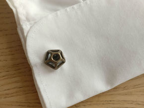 Pentagonal Cufflink  in Polished Bronze Steel