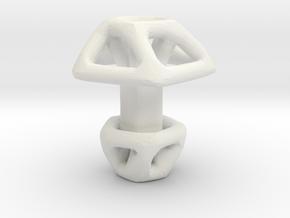 Pentagonal Cufflink Twisted in White Natural Versatile Plastic