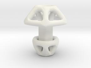 Hexagonal Cufflink in White Natural Versatile Plastic