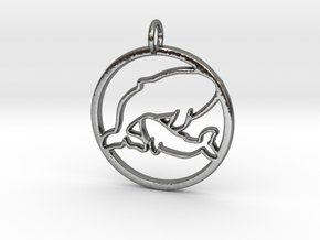 Nursing Baby Whale with Mama; pendant in Polished Silver