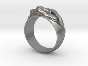 Ring Hugging Nude Couple in Natural Silver: 6 / 51.5