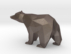 Low Poly Bear in Polished Bronzed Silver Steel