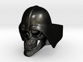 Skull Vader Ring in Matte Black Steel